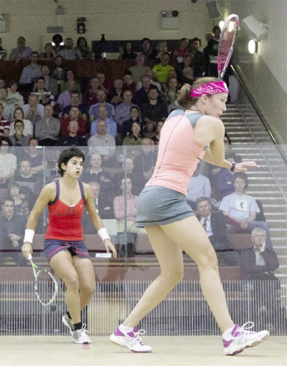 Nicolette Fernandes in action in her Irish Open final against Madeline Perry of Ireland.