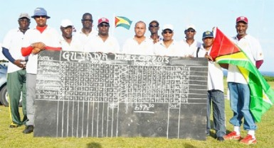 Members of the Guyana rifle shooting team after they won the Milex Cup, symbol of long range shooting supremacy yesterday at the Paragon Ranges in Barbados.