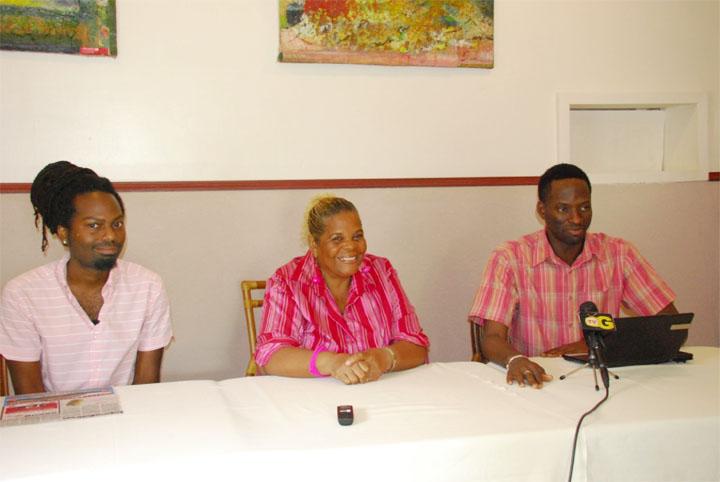 Left to Right: Guyanese artiste, Nhojj, SASOD Co-Chairs, Namela Baynes-Rowe and Joel Simpson. (SASOD photo)