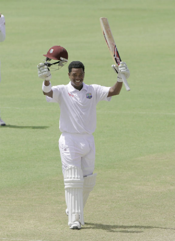 Leon Johnson became the third West Indian player to score a century in the match. (Photo courtesy of WICB media)