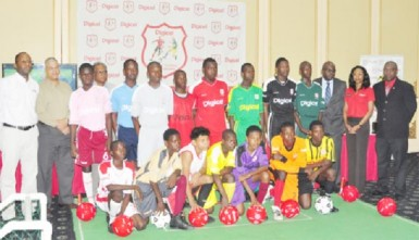 Officials and participants from the competing schools at the launch of the third annual Digicel U-18 schools football tournament  yesterday.