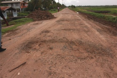 Potholes (some as wide as six feet) litter this stretch of road in Maria's Pleasure. The road was reportedly rehabilitated less than two years ago