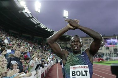 Usain Bolt of Jamaica celebrates after winning the men's 200m during the IAAF Diamond League athletics competition at the Bislett Stadium in Oslo yesterday.  Reuters/Stian Lysberg Solum/NTB Scanpix