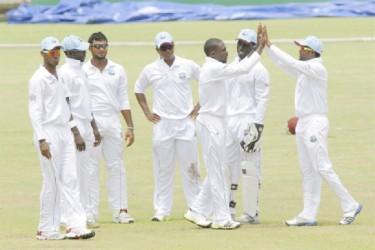 The West Indies `A' team celebrate the dismissal of Sri Lanka A team player Tharindu Kaushal. (Photo courtesy of WICB media)