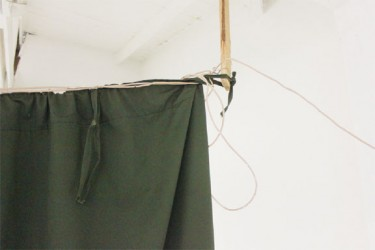 This telephone wire served the purpose of a curtain rod in the emergency room of the West Demerara Regional Hospital