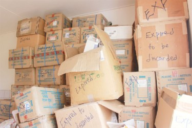 Some of the expired drugs stored at the Leonora Cottage Hospital Morgue (Photo by Arian Browne)