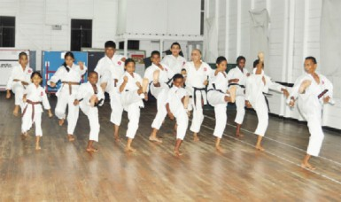 The Guyana Karate College team preparing for the upcoming Caribbean Karate Championships in Barbados.