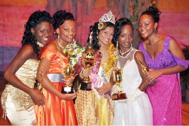 2012 Winners row: From left: Jenel Lovell, Zinoby Ward, Queen Sharona Haniff, Natasha Goodridge and Kimbilly Charles