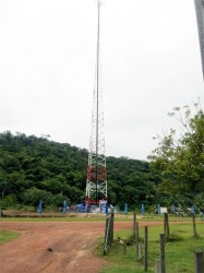 The newly commissioned 350ft cell tower at Aranaputa Valley, North Rupununi
