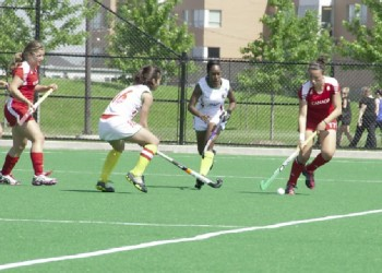Team Guyana battling the Canadian National U21 team during their matchup.