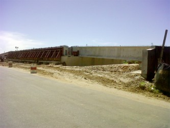 The bridge that will span the Hope Canal is still under construction.