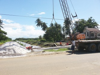 A bridge being constructed on the main road in Kingelly