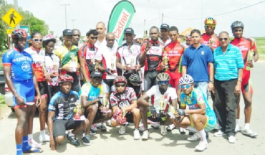 Winners and runners up of the 14th annual Father's Day 50-mile road race which was sponsored by Guyoil under its Castrol brand pose for a photo opportunity at the event's completion. (Orlando Charles photo)