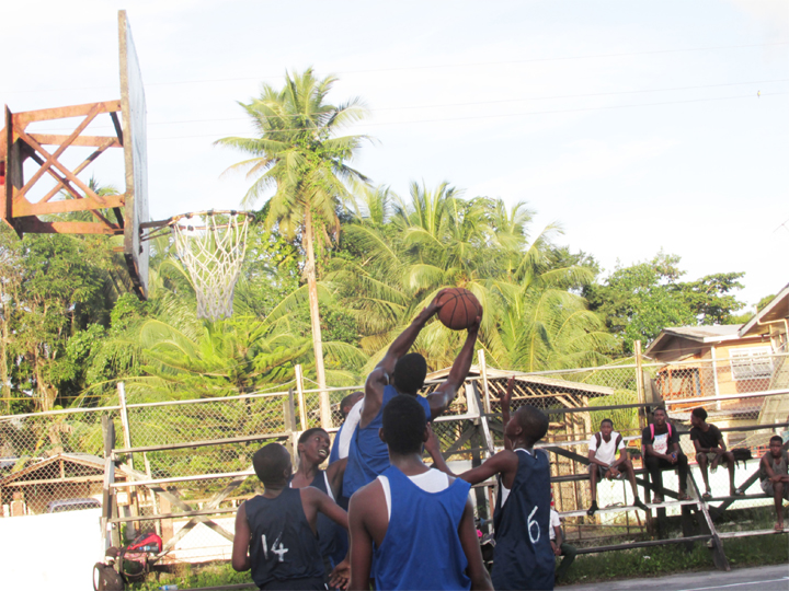 Action in the ninth edition of the Linden U-19 Secondary School Basketball Championships on Monday.
