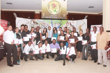 Awardees pose with their certificates along with Minister of Culture, Frank Anthony (centre) at the launch of the Third Edition of the National Drama Festival at the National Cultural Centre last evening.