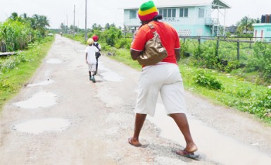 Water in potholes in a deplorable street