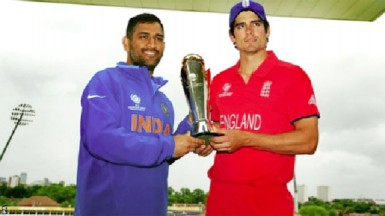 India captain Mahendra Singh Dhoni and England captain Alastair Cook want sole possession of the Champions Trophy. (BBC photo)