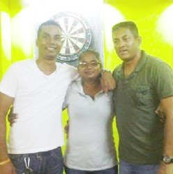 The winners of last Friday Darts Tournament Anthony Bissoondyal, Rosetta Hiralall and Norman Madhoo (L-R).