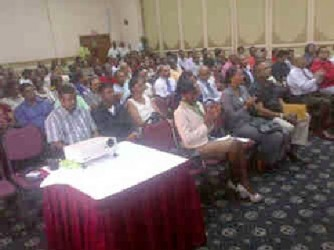 A section of the audience at the Small Business Development Finance Trust 10th Annual General Meeting at the Pegasus Hotel yesterday