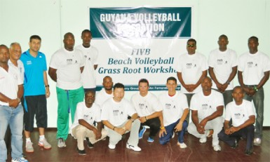 FIVB Instructor, Mauro Hernandez, third from left with the  local players yesterday.