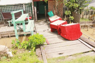 Some of the furniture in Leroy James's yard after the flooding