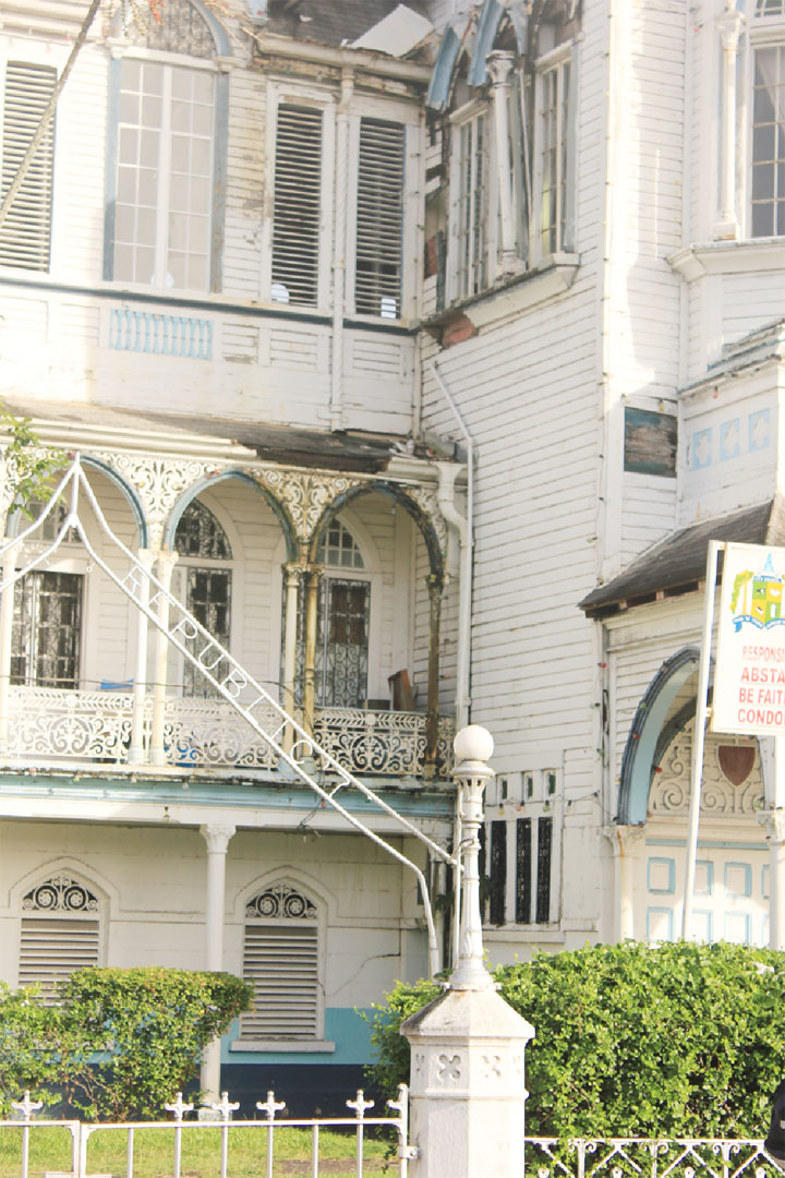 A badly deteriorated section of City Hall (Stabroek News file photo/Arian Browne)
