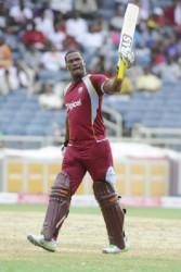 Man of the match Johnson Charles celebrates reaching his half century. (Photo courtesy of West Indies media)