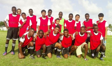 The President's College team after defeating Lancaster Secondary yesterday afternoon. In front (L-R) are the goal scorers, Von Harding, David Wilson, Danesh Persaud, Micheal Baksh, Akwesi Alfred and Derick Mingo.