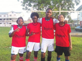 The scorers (L-R) Ozeal Small, Azuma Small, Royston Dublin and Seon Taylor from St. George's Secondary after defeating Carmel Secondary at the Eve Leary Sport Club ground yesterday afternoon.