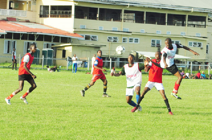 Action between GITC in red and Charlestown Secondary in white