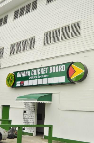 The new Guyana Cricket Board official sponsors board.