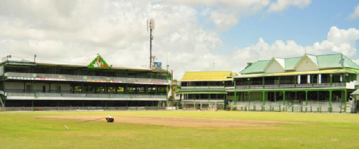 The GCC ground, pitch and Rohan Kanhai stand that will be used for the warm-up match.