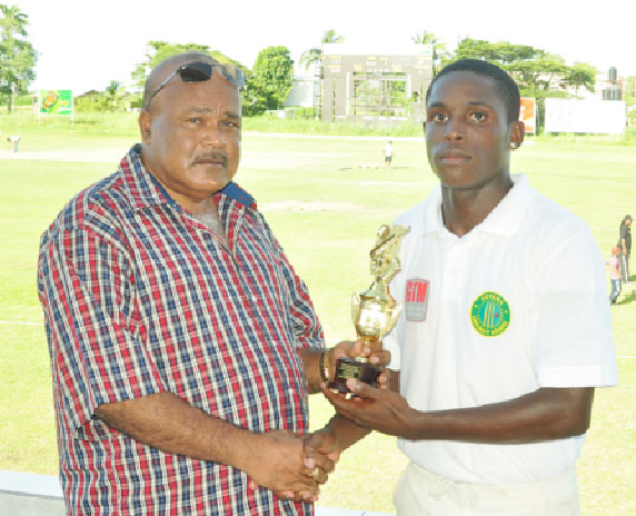 Men of the Match, President's XI Garfield De Roche and Berbice's Romario Shepherd-De Jonge