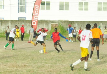 Action between Sophia Training School in white and East Ruimveldt Secondary in red