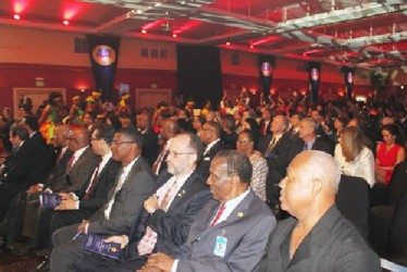 Ambassador Irwin LaRocque, Secretary-General of the Caribbean Community, third from right, at the event to celebrate the 40th anniversary of the Community at the Chaguaramas Convention Centre, Chaguaramas, Trinidad and Tobago on Wednesday. Seated next to him is former Secretary-General Sir Edwin Carrington (second from right). (Caricom Photo)