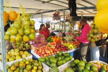 Trading in fruit and vegetables on Merriman's Mall this week.