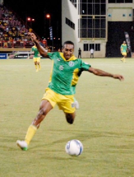 Golden Jaguars' Ricky Shakes in action at the Guyana National Stadium, Providence.