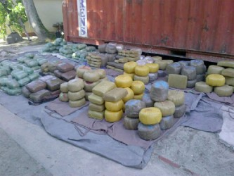 Some of the cannabis found yesterday in the trunks of the cars in a container full of cars at the John Fernandes Terminal at Industrial Site.