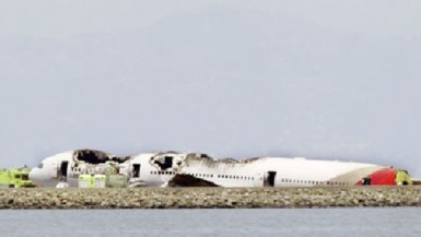 An Asiana Airlines Boeing 777 is pictured after crash landing in this KTVU image at San Francisco International Airport in California yesterday. (REUTERS-KTVU-Handout via Reuters)