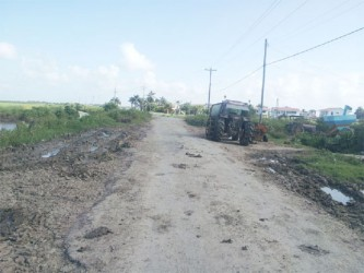 The deplorable road at Burma Road, West Coast Berbice, just two weeks after rehabilitation.