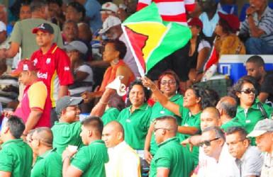Guyana fans before the rain came (WICB photo)