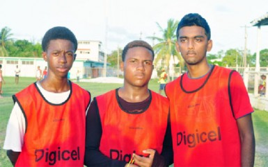 Queen's College scorers from left to right- Nathan Patterson, Aftab Crandon and Jayadev Mana