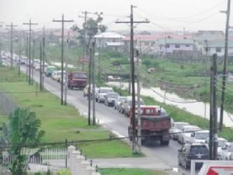 Congestion along the East Bank Demerara roadway (Stabroek News file photo Jan, 2012)