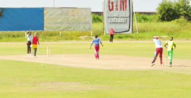 Christopher Barnwell is lbw to Veerasammy Permaul during the warm up 50-overs a side match played at the Everest Cricket Ground yesterday.