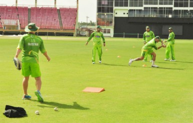 Pakistan players at practice at the stadium