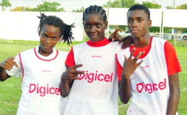 St. George's goal scorers from left to right- Okeri Codrington, Ozeal Small and Robby McCaggon