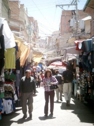 One of the many street market in La Paz, Bolivia