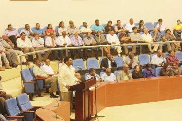 Housing Minister Irfaan Ali makes his presentation yesterday
