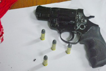 This unlicensed .38 Taurus revolver with four rounds was found during a search on a house at Parafait Harmonie, West Bank Demerara on Thursday.