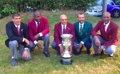 The Junior Mackinnon Challenge Cup winners! From right, Sigmund Douglas, David Rickman, Mahendra Persaud, Lennox Braithwaite and Trinidad's  David Ragnauth.